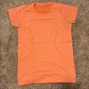 Orange size 8 lululemon crew T-shirt